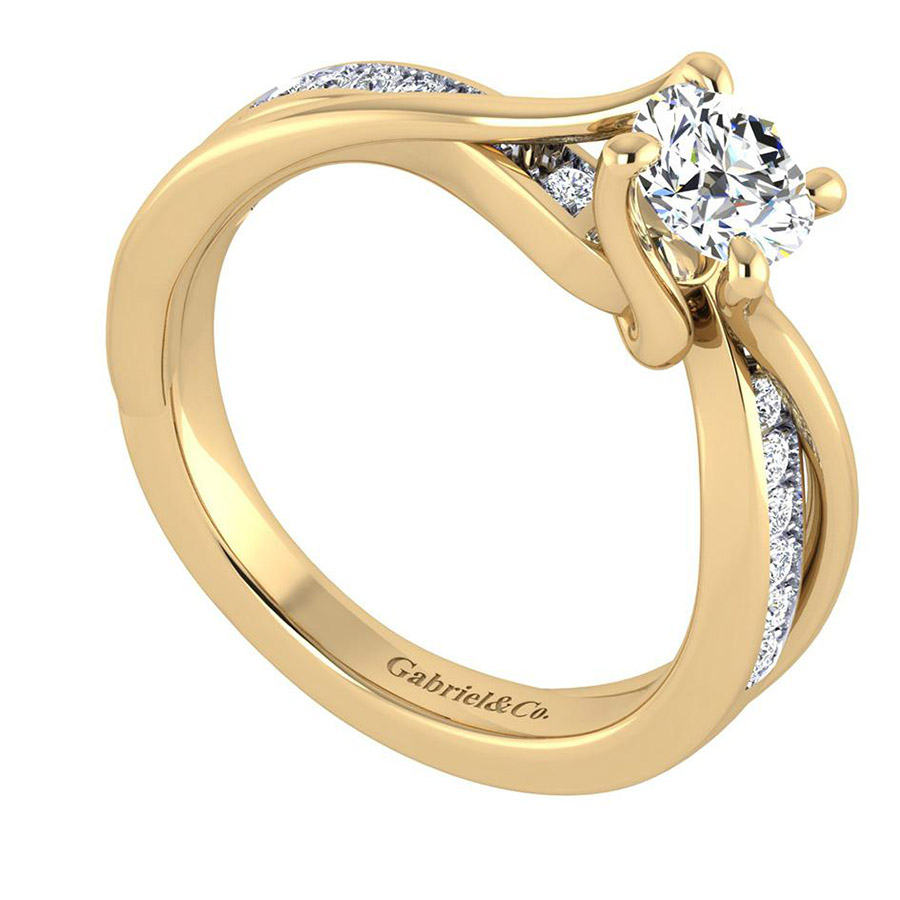 Gabriel 14 Karat Contemporary Engagement Ring ER6360Y44JJ Alternative View 2