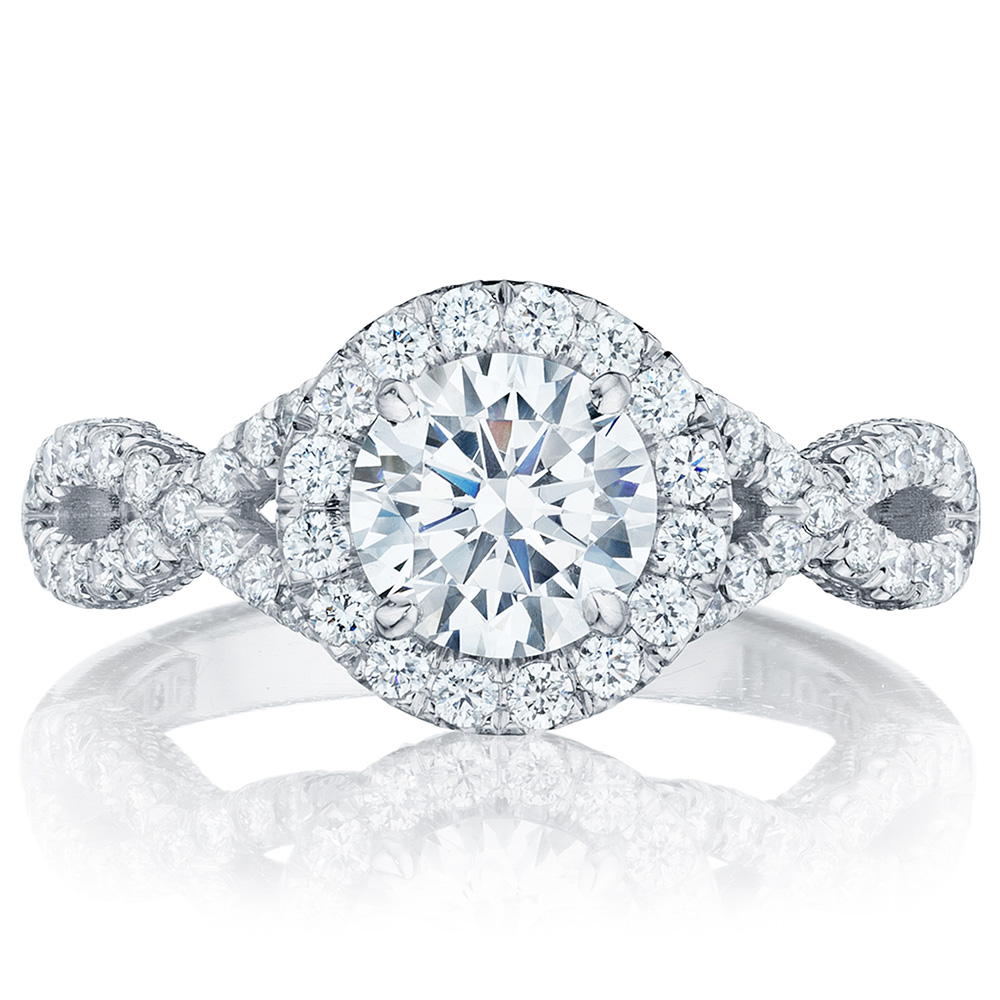 HT2549RD65 Platinum Tacori Petite Crescent Engagement Ring