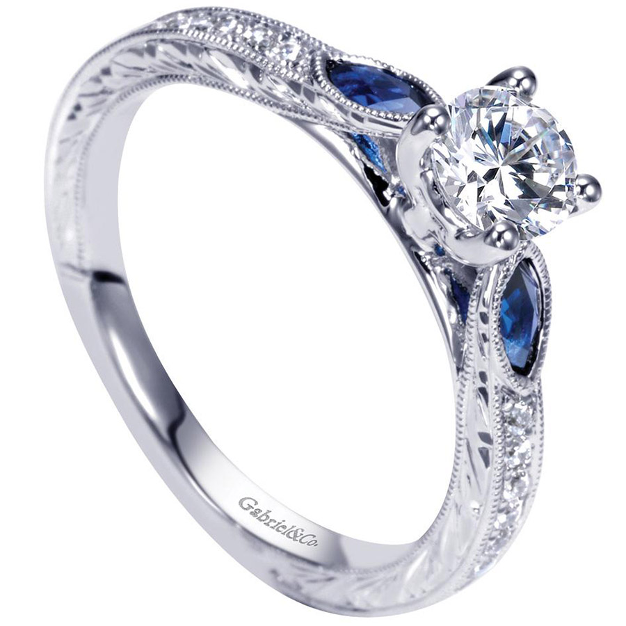 Gabriel 14 Karat Victorian Engagement Ring ER98990W44SA Alternative View 2