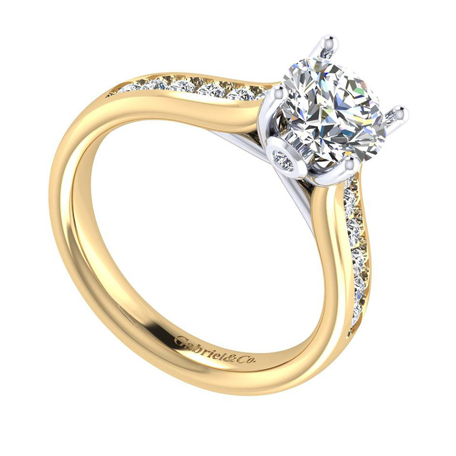 Gabriel 14 Karat Contemporary Engagement Ring ER8191M44JJ Alternative View 2