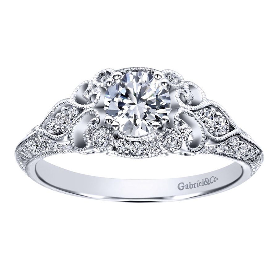 Gabriel 14 Karat Victorian Engagement Ring Er911865r0w44jj Alternative  View 4
