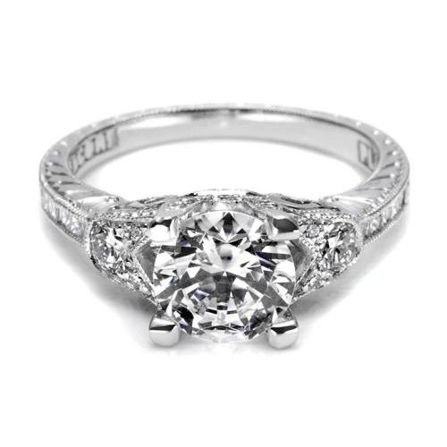 Tacori Hand Engraved Platinum Engagement Ring HT2330