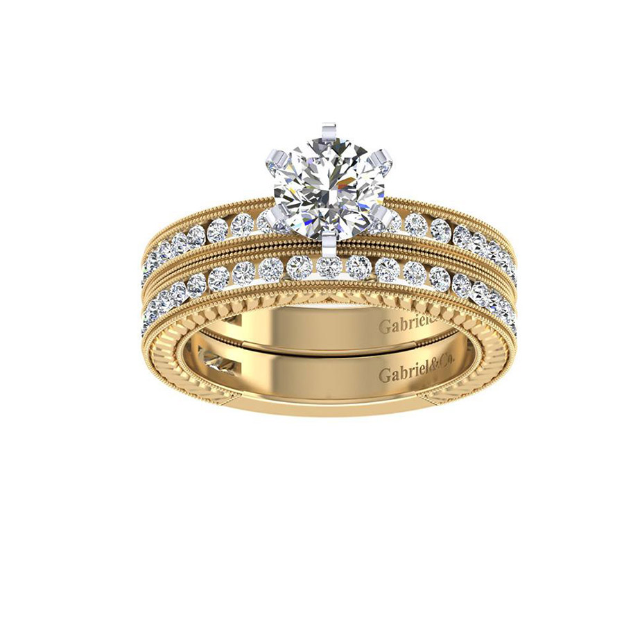 Gabriel 14 Karat Victorian Engagement Ring ER4312M44JJ Alternative View 3
