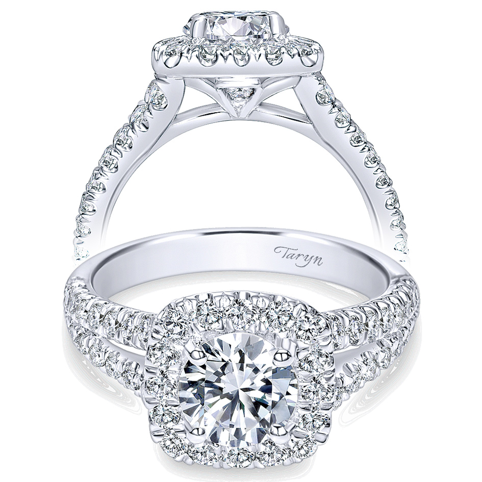 Taryn 14k White Gold Round Halo Engagement Ring TE10252W44JJ