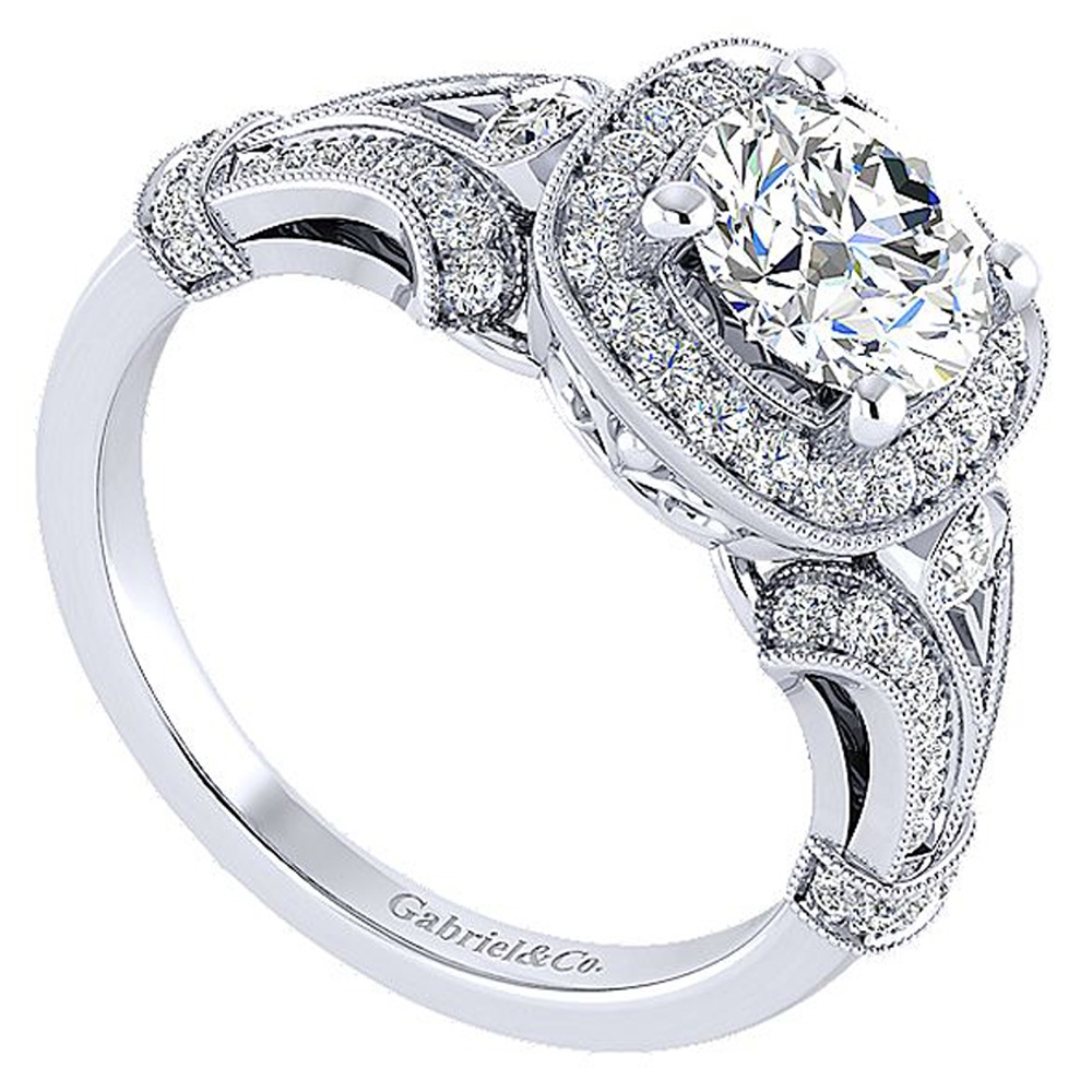 Gabriel 14 Karat Round Halo Engagement Ring ER12442W44JJ Alternative View 2