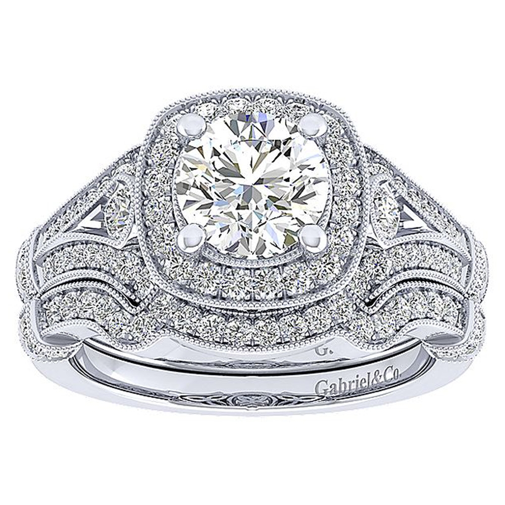 Gabriel 14 Karat Round Halo Engagement Ring ER12442W44JJ Alternative View 3