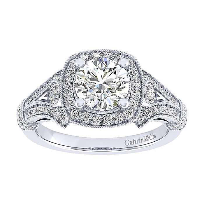 Gabriel 14 Karat Round Halo Engagement Ring ER12442W44JJ Alternative View 4