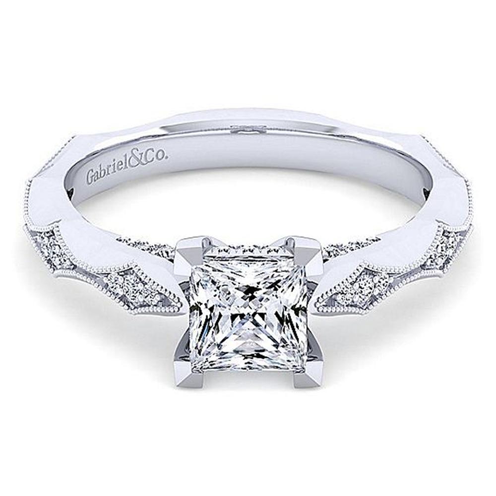 Gabriel 14 Karat White Gold Princess Cut Diamond Engagement Ring Er14427s4w44jj Tq Diamonds