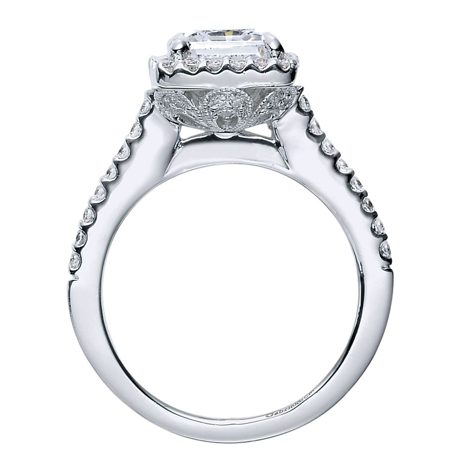 Gabriel - Lindsey 14 Karat Princess Cut Halo Engagement Ring ER5826W44JJ Alternative View 1