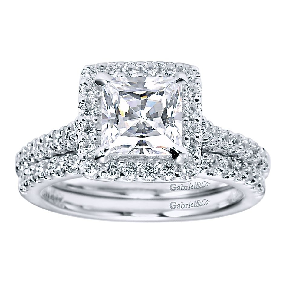 Gabriel - Lindsey 14 Karat Princess Cut Halo Engagement Ring ER5826W44JJ Alternative View 2