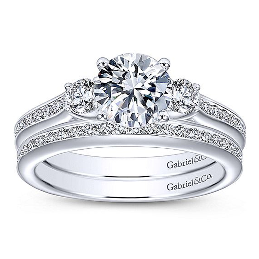 Gabriel 14 Karat Round 3 Stone Engagement Ring ER7473W44JJ Alternative View 3