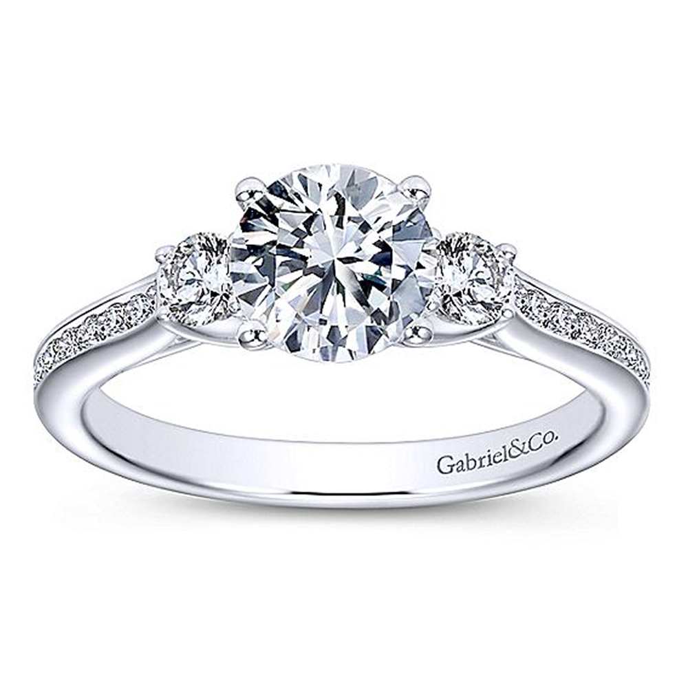 Gabriel 14 Karat Round 3 Stone Engagement Ring ER7473W44JJ Alternative View 4