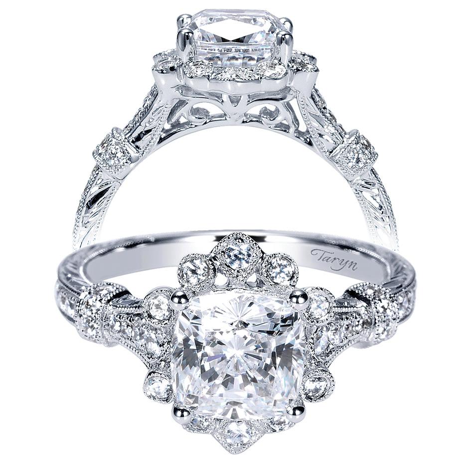 Taryn 14k White Gold Cushion Cut Halo Engagement Ring Te8838w44jj