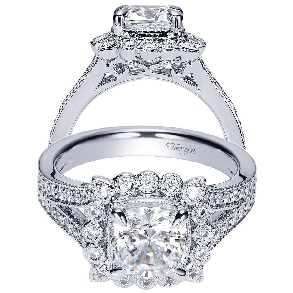 Taryn 14k White Gold Cushion Cut Halo Engagement Ring Te8910w44jj