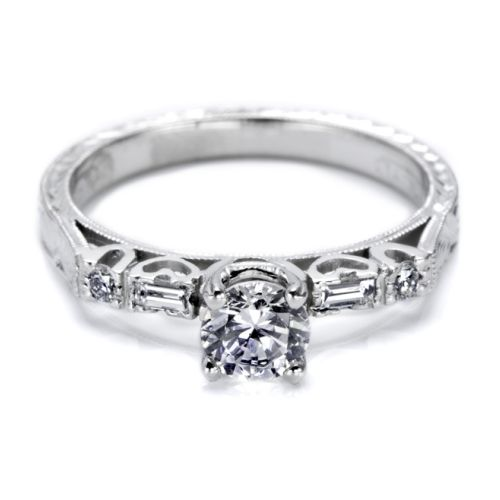 Tacori Platinum Hand Engraved Engagement Ring HT2222