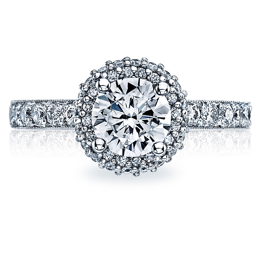 38-25RD65 Platinum Tacori Blooming Beauties Engagement Ring