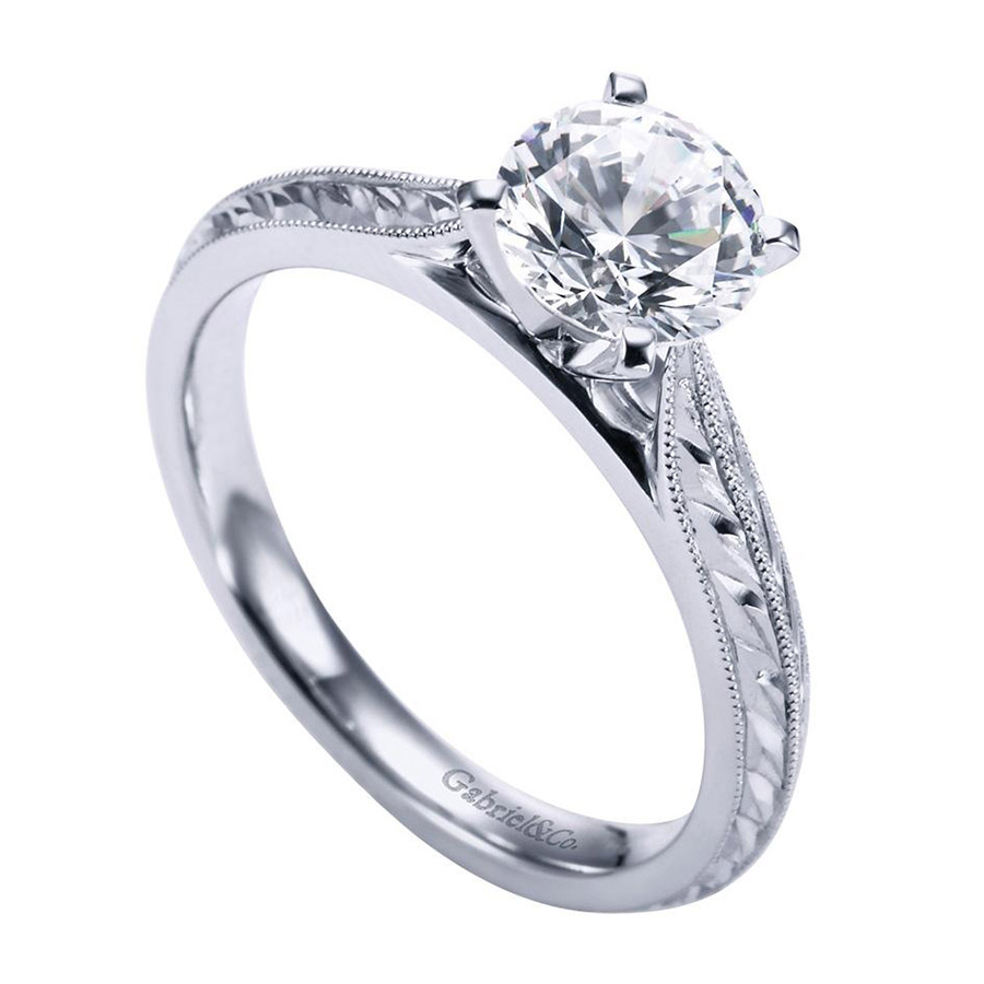 Gabriel Platinum Victorian Engagement Ring ER6707PTJJJ Alternative View 2