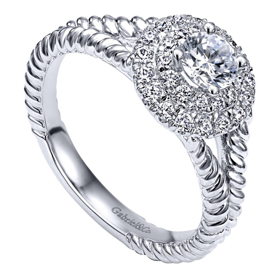 Gabriel 14 Karat Contemporary Engagement Ring ER910144W44JJ Alternative View 2