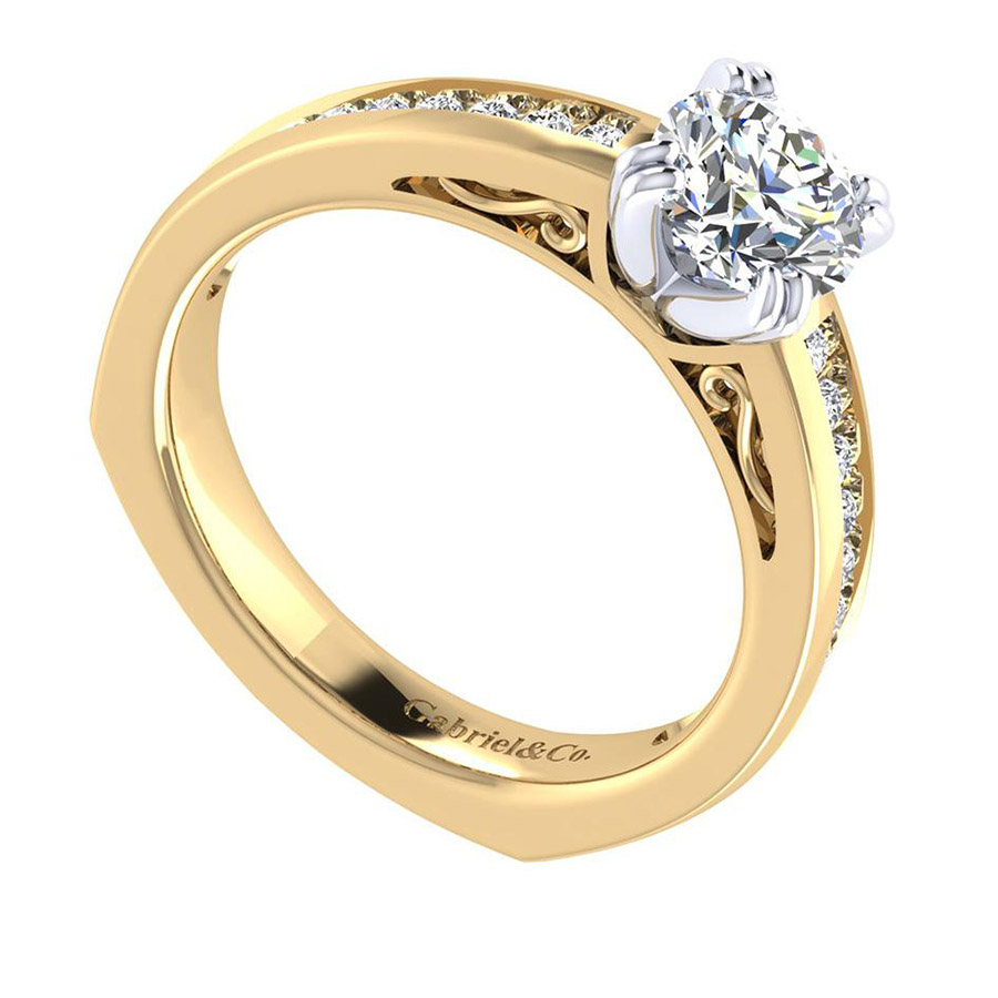 Gabriel 14 Karat Contemporary Engagement Ring ER6655M44JJ Alternative View 2