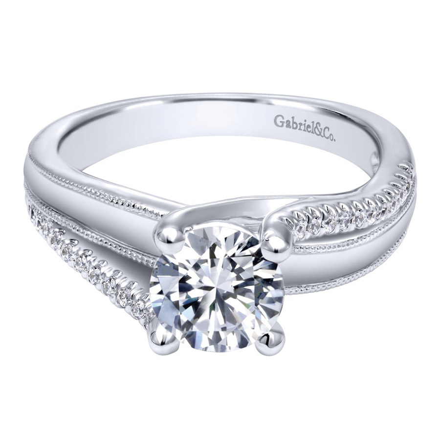 Gabriel 14 Karat Contemporary Engagement Ring ER10260W44JJ