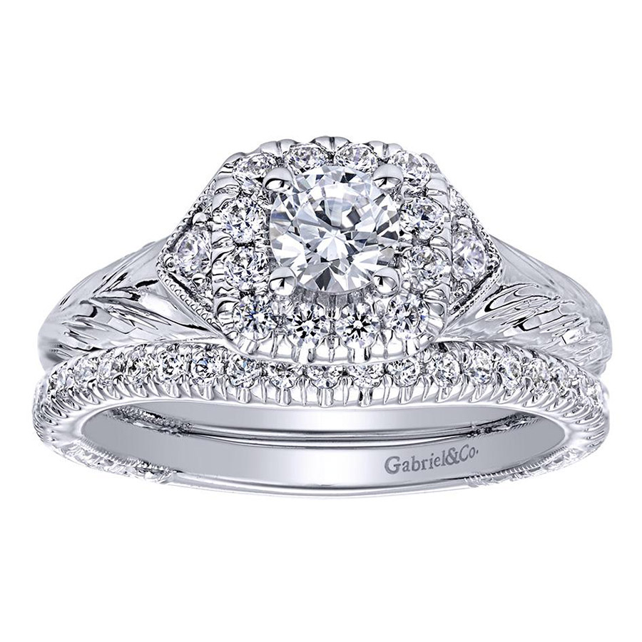 Gabriel 14 Karat Contemporary Engagement Ring ER910421W44JJ Alternative View 3