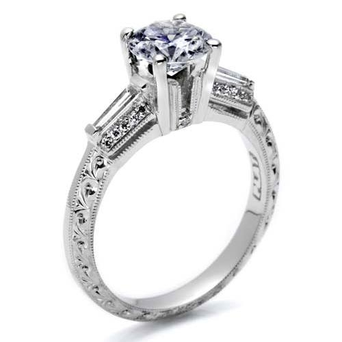 Tacori Hand Engraved Platinum Engagement Ring HT2350 Alternative View 1