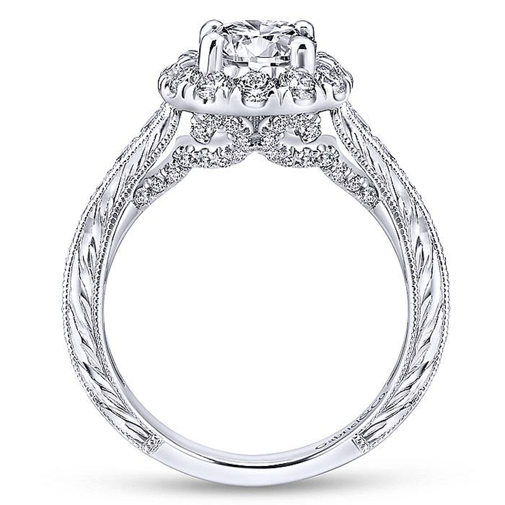 Gabriel 14 Karat Round Halo Engagement Ring ER12825R4W44JJ Alternative View 1