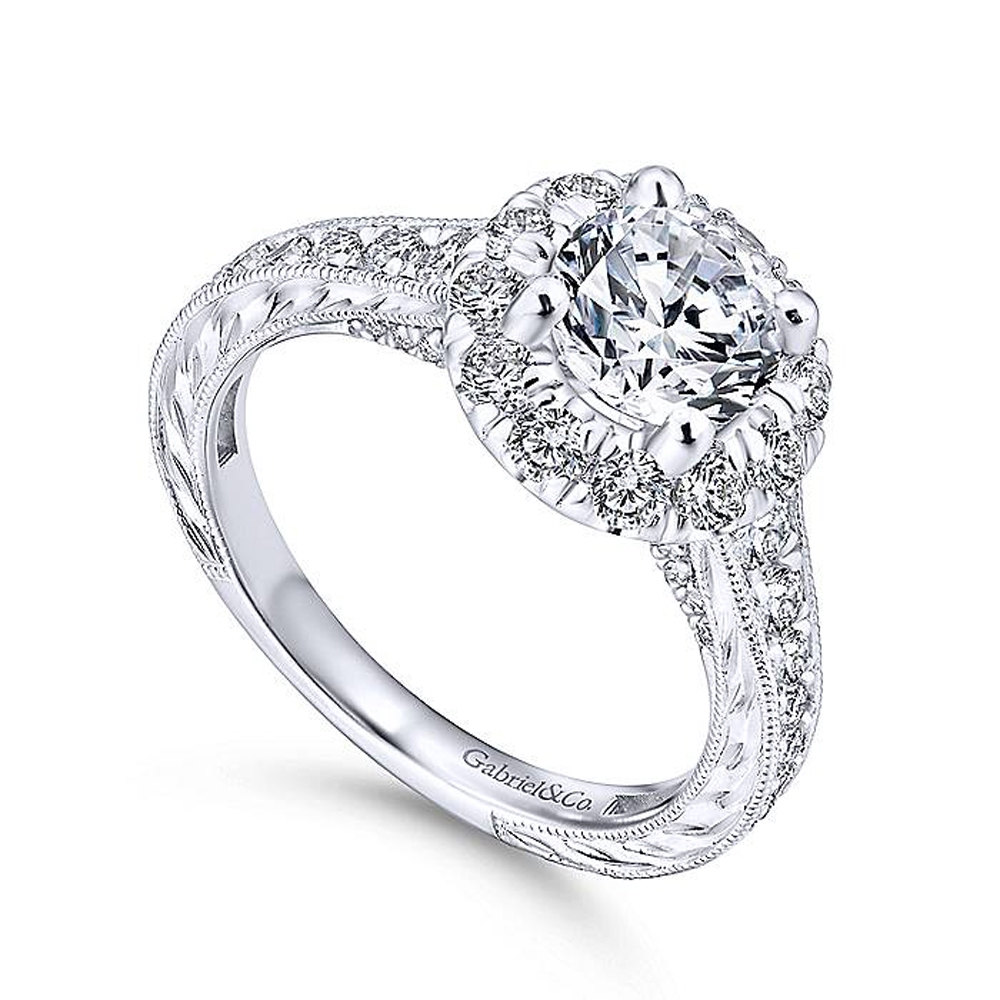 Gabriel 14 Karat Round Halo Engagement Ring ER12825R4W44JJ Alternative View 2