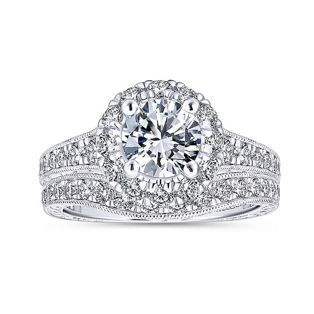 Gabriel 14 Karat Round Halo Engagement Ring ER12825R4W44JJ Alternative View 3