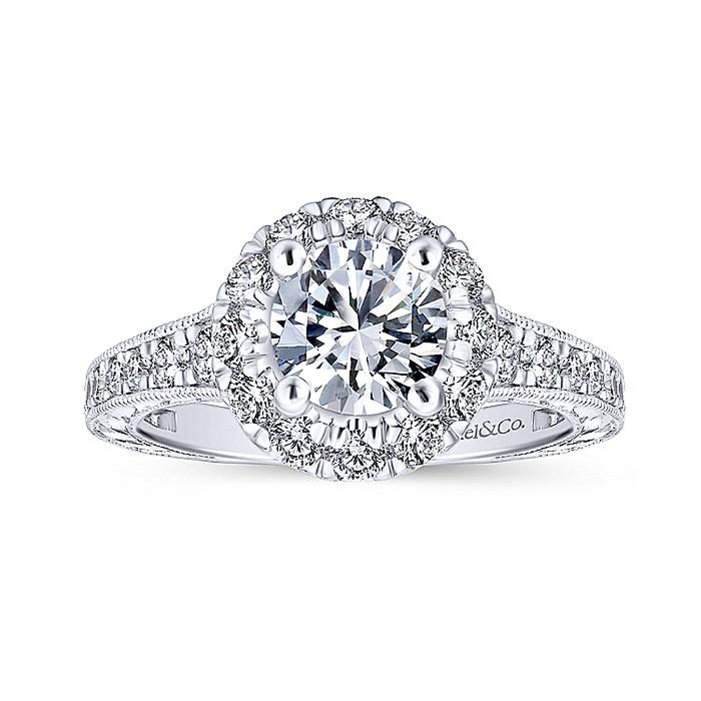 Gabriel 14 Karat Round Halo Engagement Ring ER12825R4W44JJ Alternative View 4