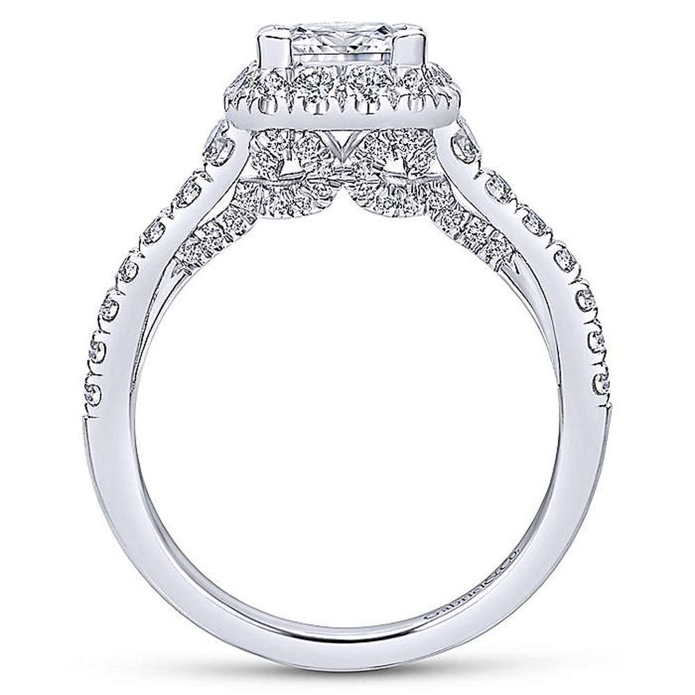Gabriel 14 Karat Princess Cut Halo Engagement Ring ER12836S4W44JJ Alternative View 1