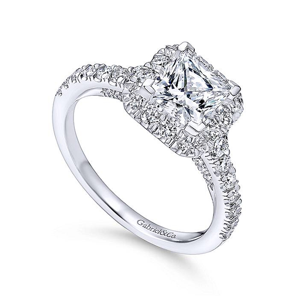 Gabriel 14 Karat Princess Cut Halo Engagement Ring ER12836S4W44JJ Alternative View 2