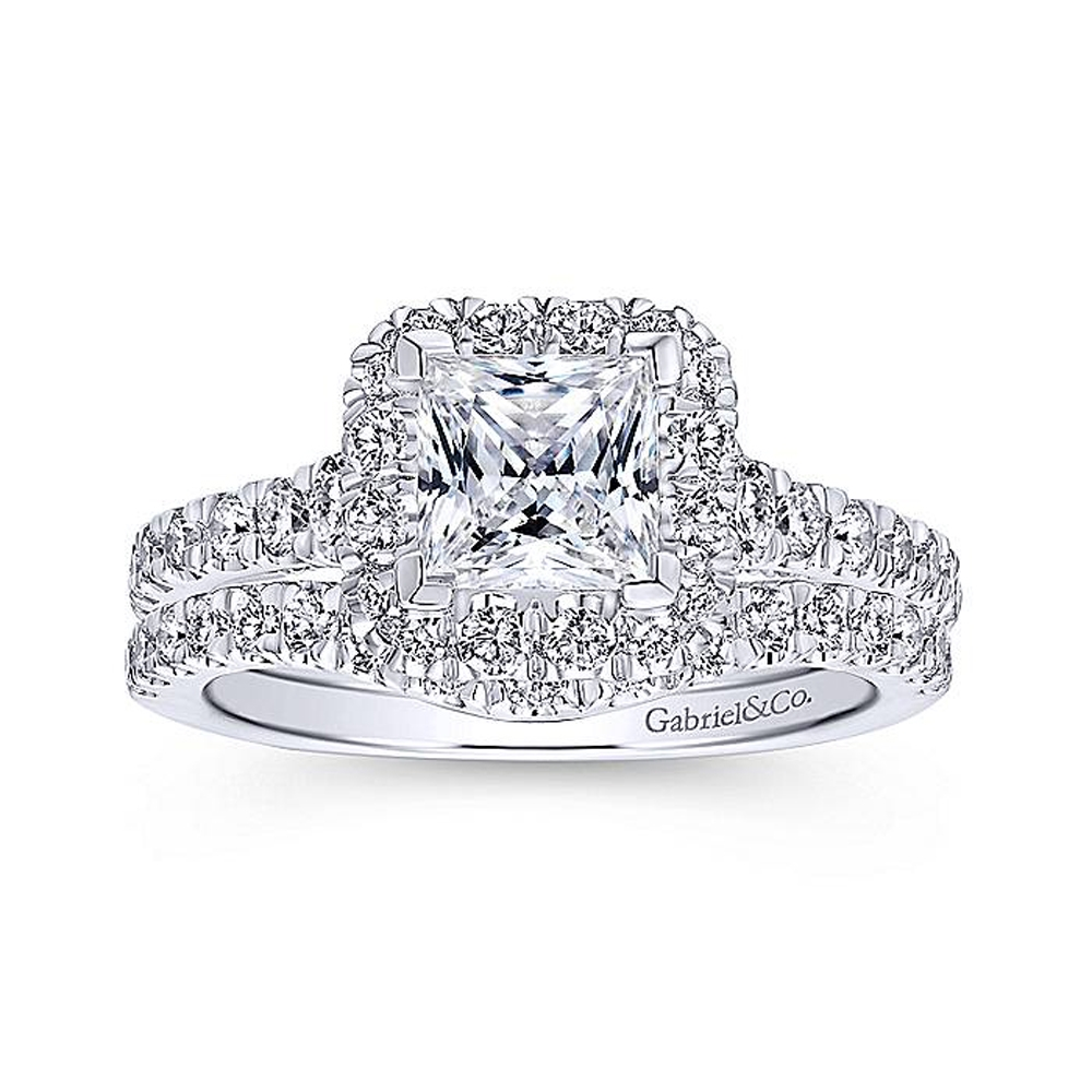 Gabriel 14 Karat Princess Cut Halo Engagement Ring ER12836S4W44JJ Alternative View 3