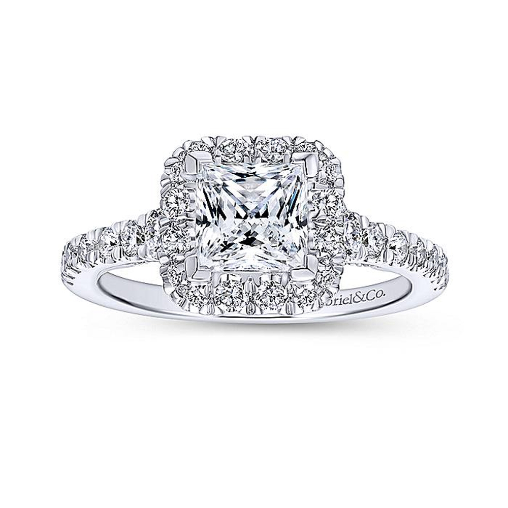 Gabriel 14 Karat Princess Cut Halo Engagement Ring ER12836S4W44JJ Alternative View 4