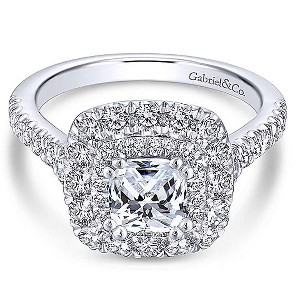 Gabriel 14 Karat Cushion Cut Halo Engagement Ring ER13861C4W44JJ