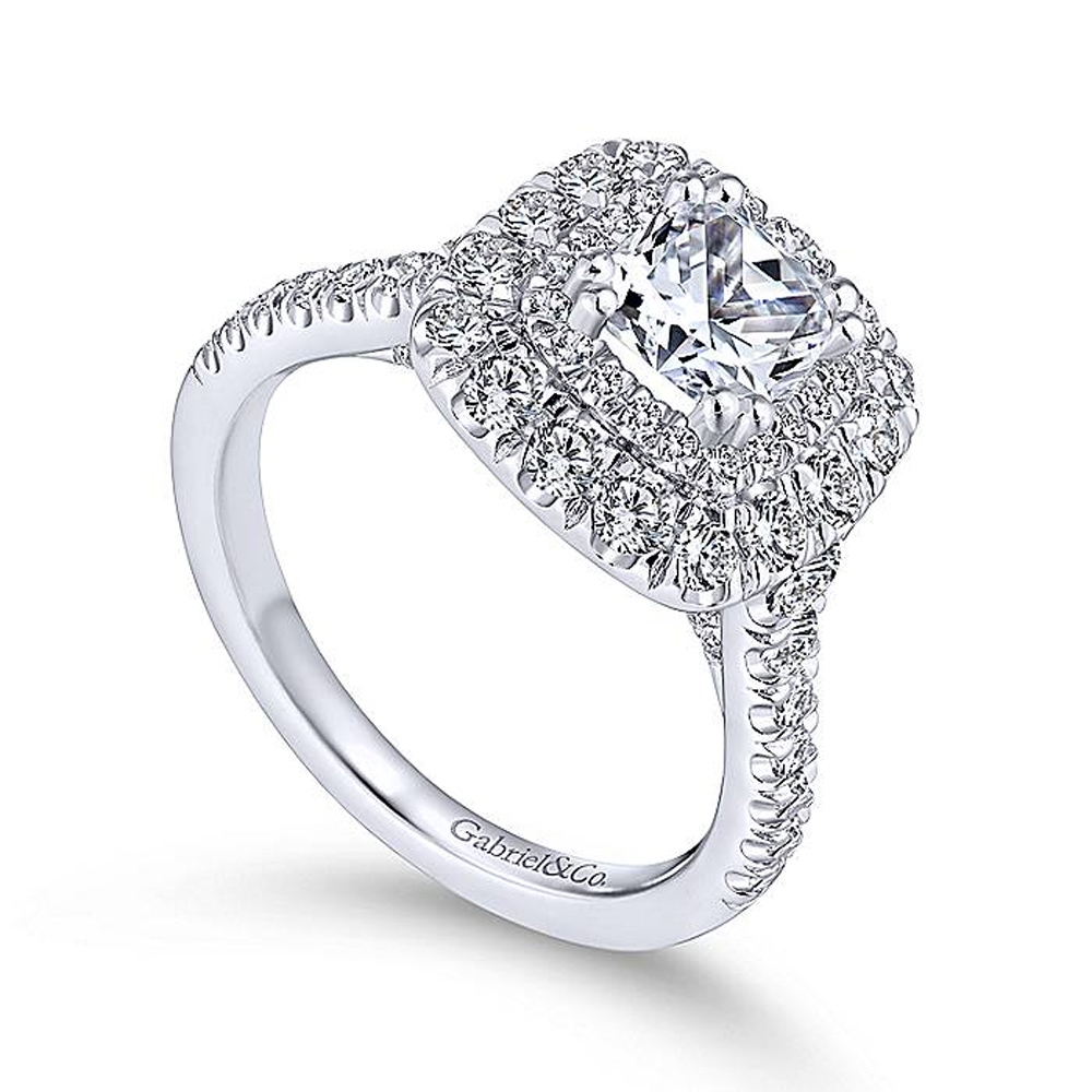Gabriel 14 Karat Cushion Cut Halo Engagement Ring ER13861C4W44JJ Alternative View 2