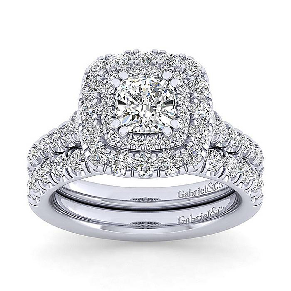 Gabriel 14 Karat Cushion Cut Halo Engagement Ring ER13861C4W44JJ Alternative View 3