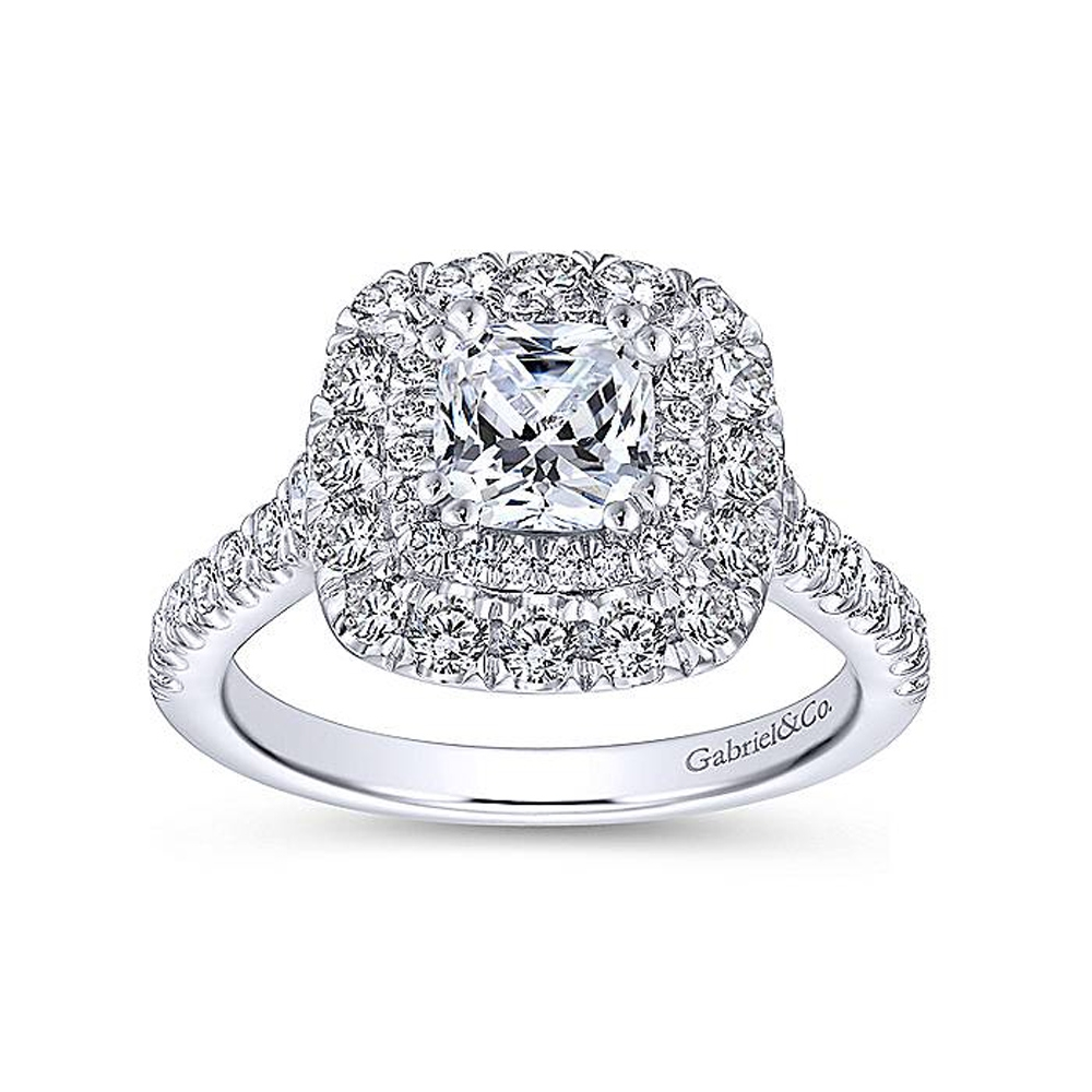 Gabriel 14 Karat Cushion Cut Halo Engagement Ring ER13861C4W44JJ Alternative View 4