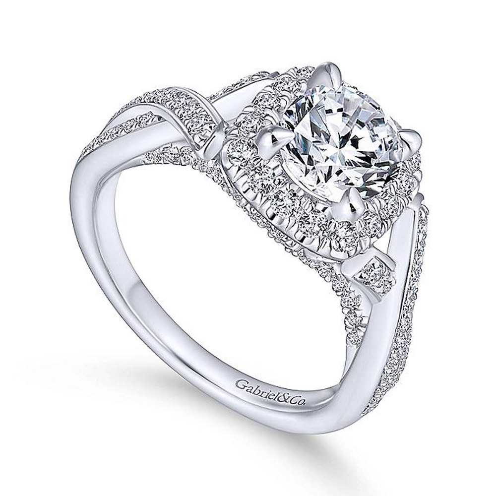 Gabriel 14 Karat Round Halo Engagement Ring ER13886R4W44JJ Alternative View 2