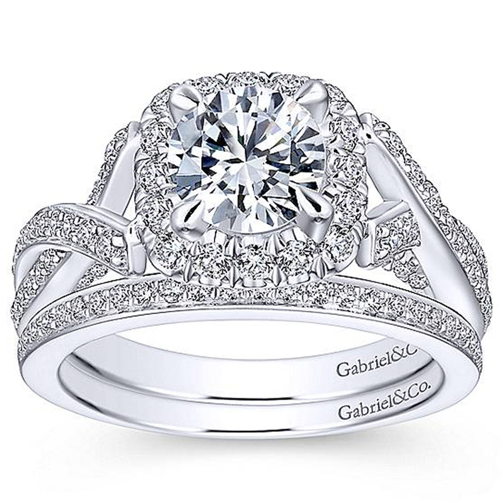 Gabriel 14 Karat Round Halo Engagement Ring ER13886R4W44JJ Alternative View 3