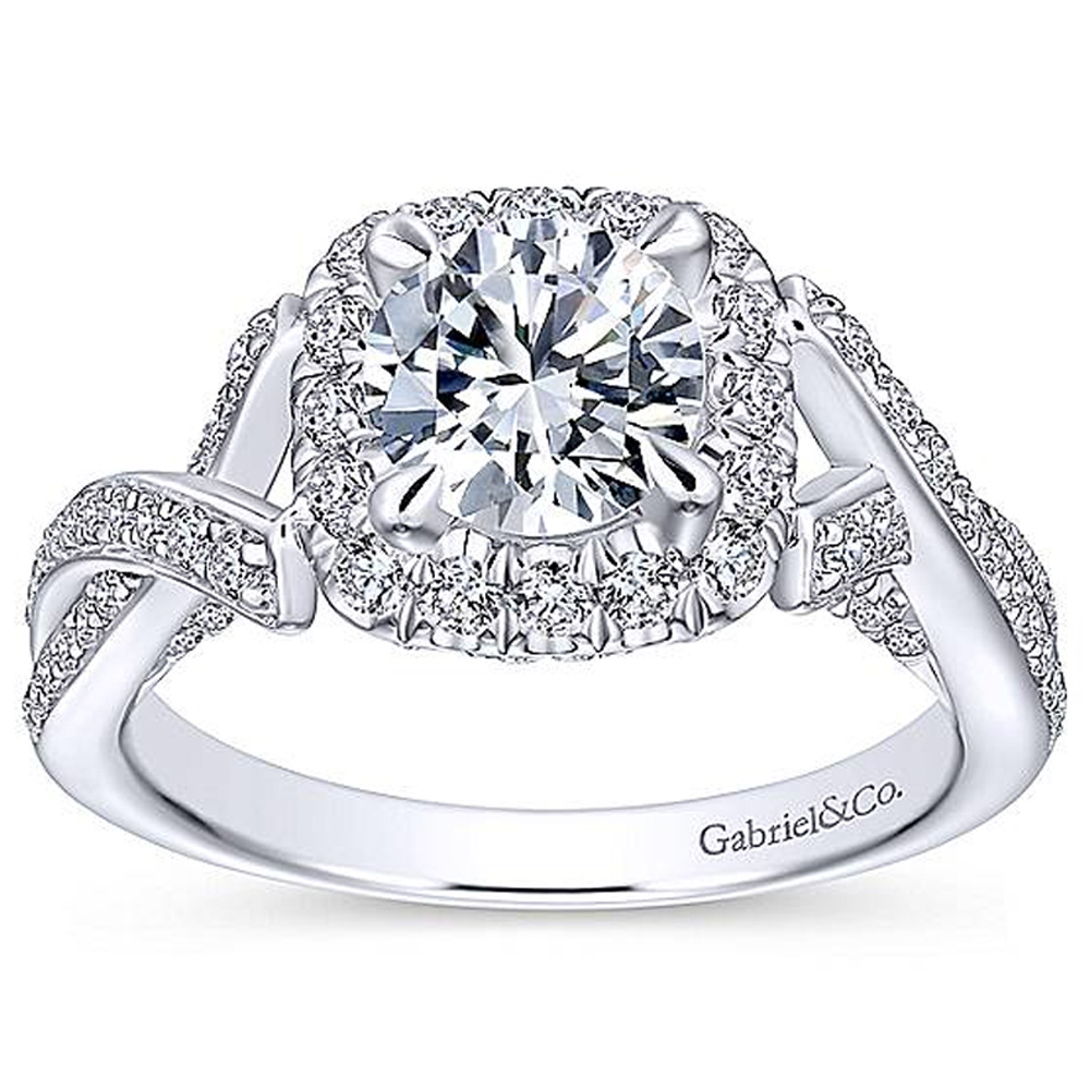 Gabriel 14 Karat Round Halo Engagement Ring ER13886R4W44JJ Alternative View 4