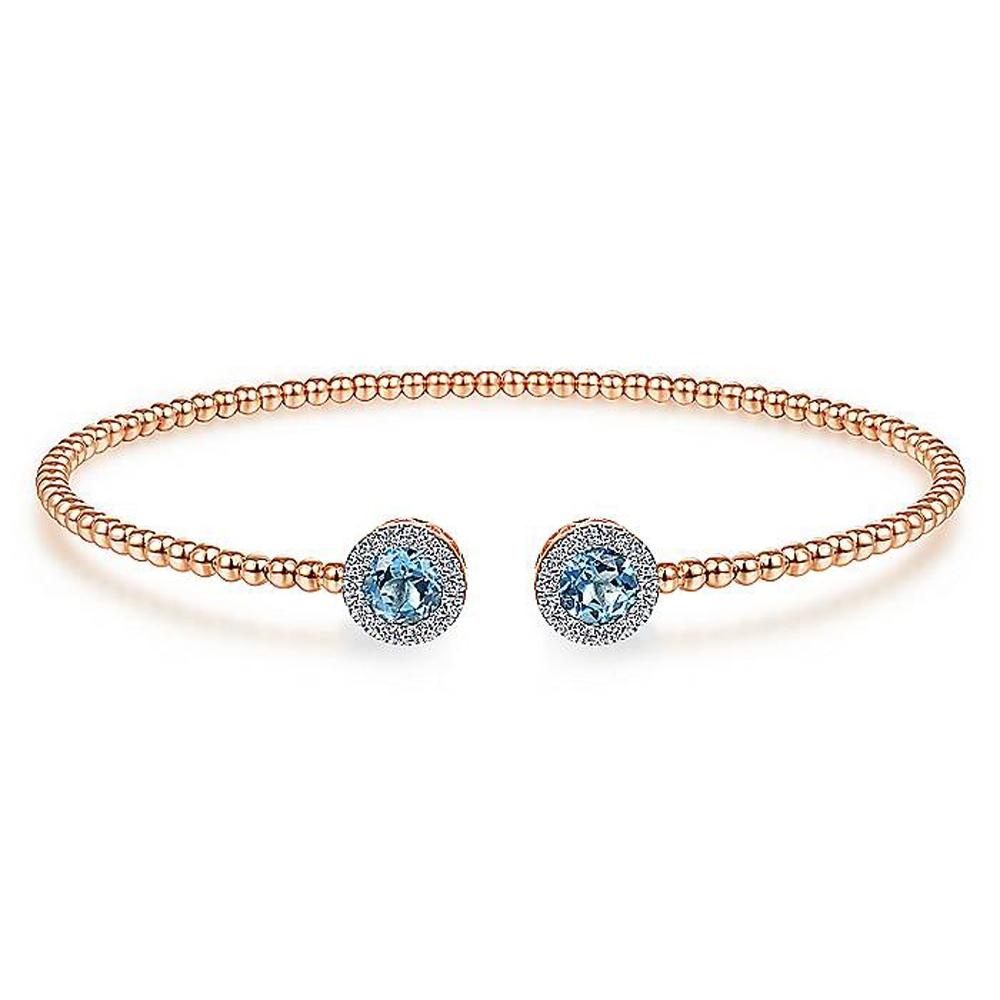 b84c5a326405f Gabriel Fashion 14k Round Swiss Blue Topaz Bracelet BG4245-6K45BT