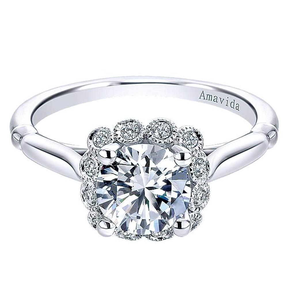 4f076644959d1 Gabriel 18 Karat Round Halo Engagement Ring ER11342R4W83JJ