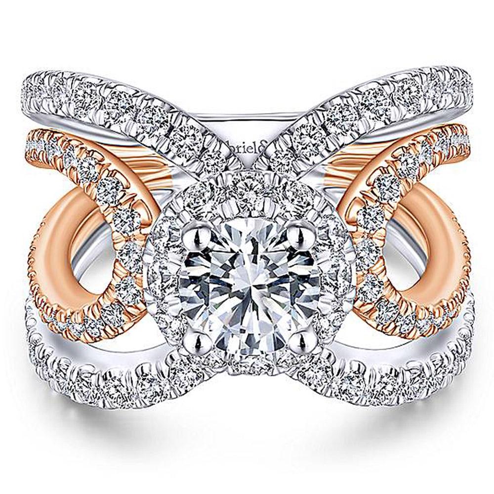 2381a4bdf1087 Gabriel 18 Karat Round Halo Engagement Ring ER13843R4T84JJ