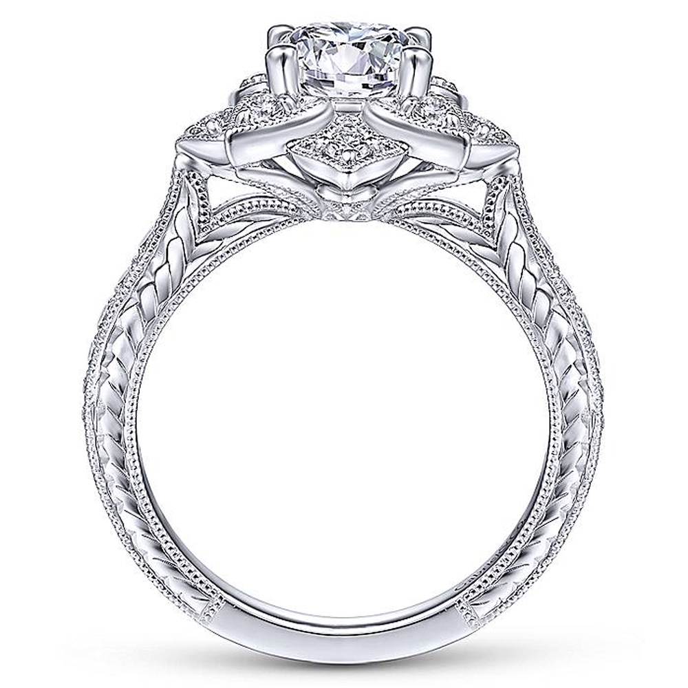 Gabriel 14 Karat Round Halo Engagement Ring ER14451R4W44JJ Alternative View 4
