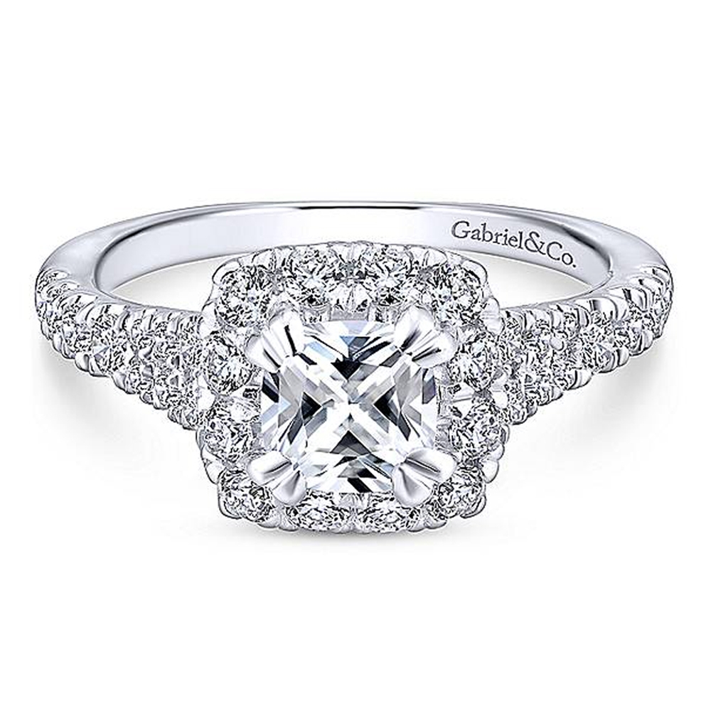 Gabriel Platinum Cushion Cut Halo Engagement Ring ER12835C4PT4JJ