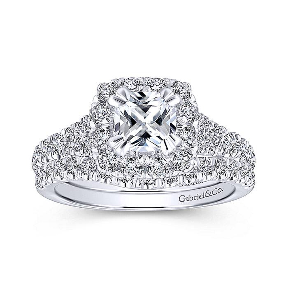 Gabriel Platinum Cushion Cut Halo Engagement Ring ER12835C4PT4JJ Alternative View 3