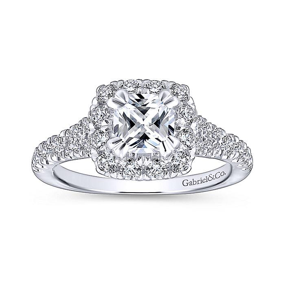 Gabriel Platinum Cushion Cut Halo Engagement Ring ER12835C4PT4JJ Alternative View 4