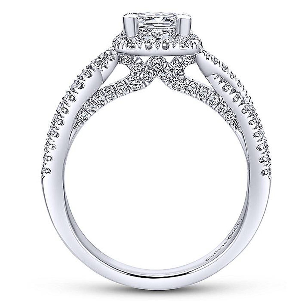 Gabriel 14 Karat Princess Cut Halo Engagement Ring ER12600S3W44JJ Alternative View 1