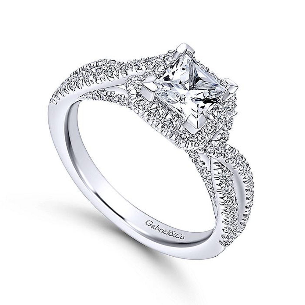 Gabriel 14 Karat Princess Cut Halo Engagement Ring ER12600S3W44JJ Alternative View 2